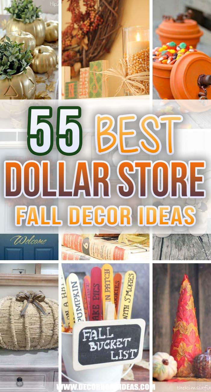 Best Dollar Store Fall Decor Ideas. Decorate on a budget with these dollar store fall decor ideas. From centerpieces to wreaths, there are plenty of dollar tree fall decor ideas to fill your home with autumnal flair. #decorhomeideas