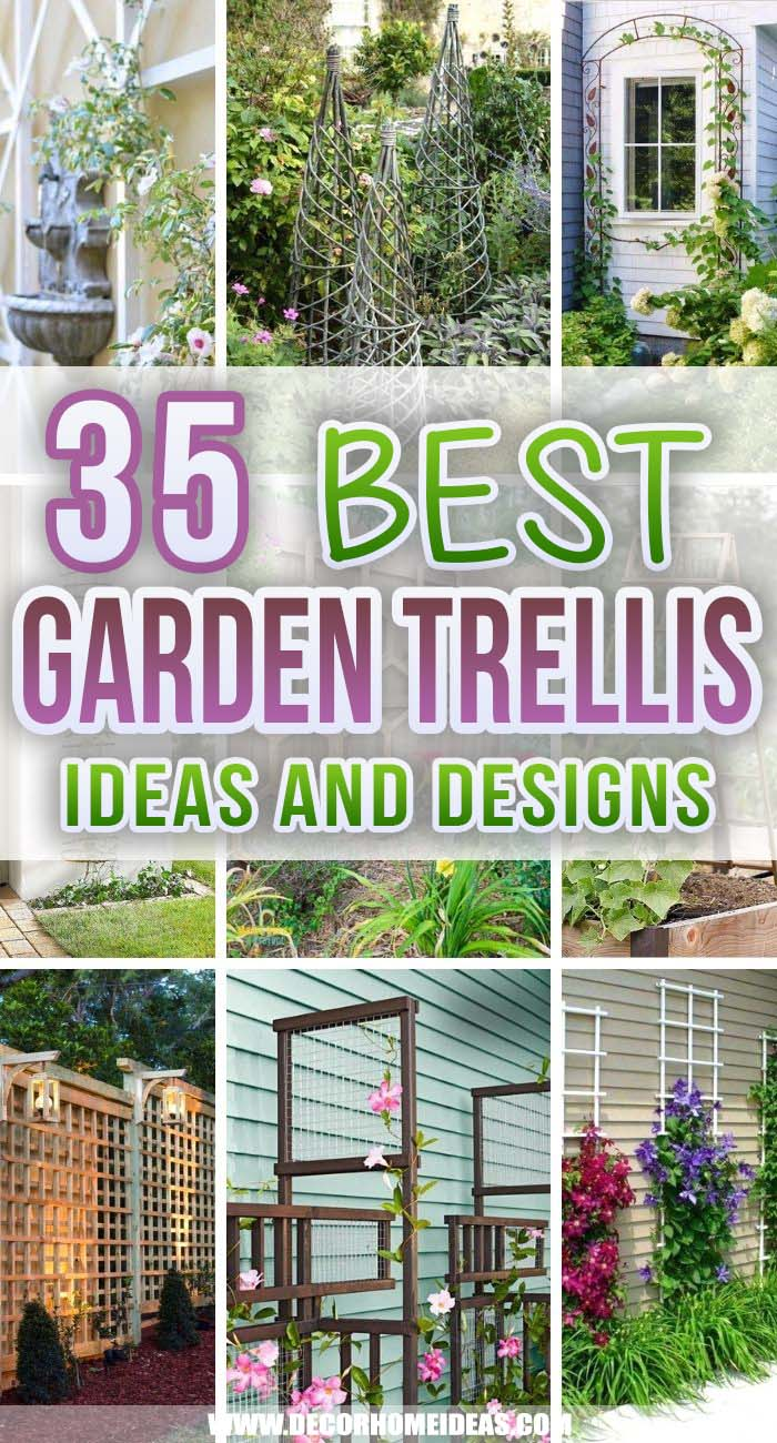 Best Trellis Ideas. How to make a beautiful garden trellis for your plants and flowers and spruce up your backyard, wall or fence.  #decorhomeideas