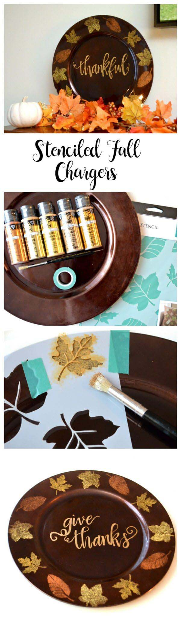21. Paint Your Own Thanksgiving Dinner Chargers #fall #leaf #crafts #decorhomeideas