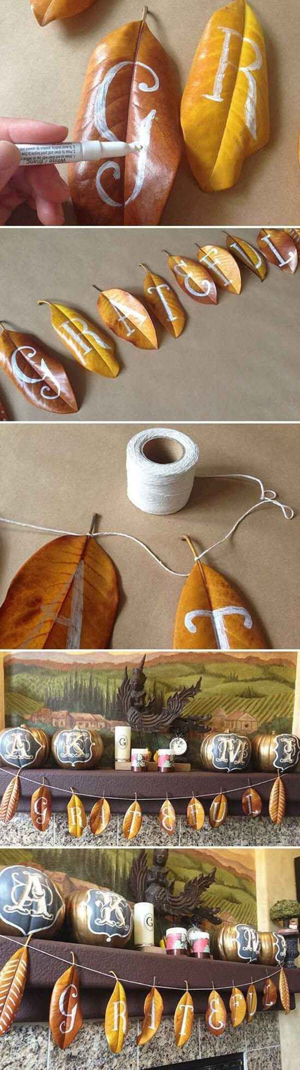22. Pretty Personalized Leaves Party Garland #fall #leaf #crafts #decorhomeideas