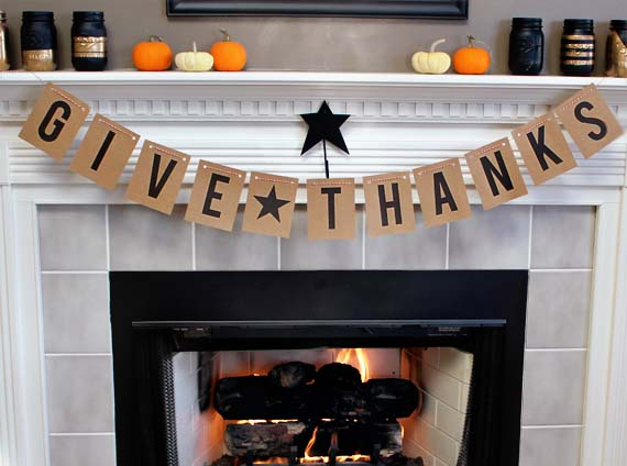 12. Quick and Easy Printable Banner #thanksgiving #sign #decorhomeideas