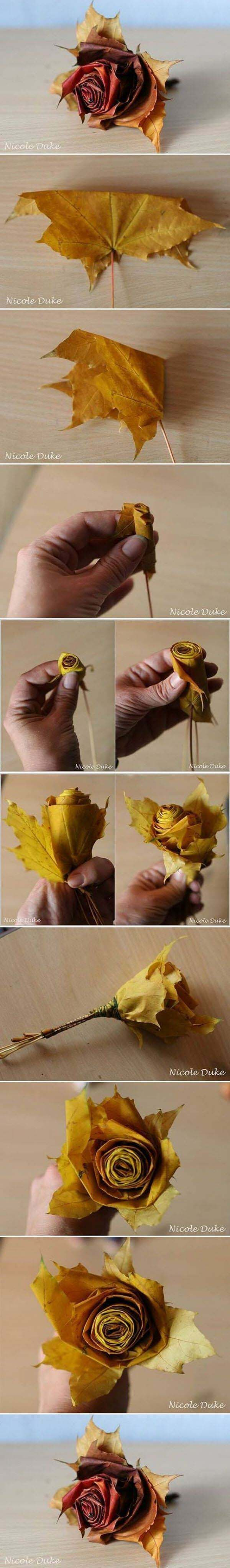 23. Rolled Paper Rose Update with Fall Foliage #fall #leaf #crafts #decorhomeideas