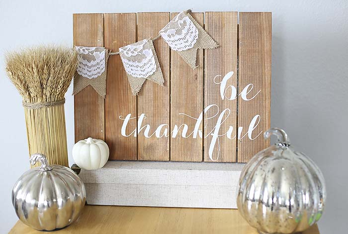25. Wooden Sideboard with Lace and Burlap Embellishments #thanksgiving #sign #decorhomeideas